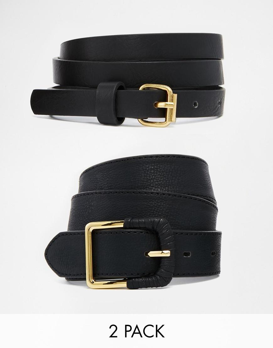 Fashion Shop - ASOS 2 Pack Skinny Waist Belt and Jeans Belt - Black