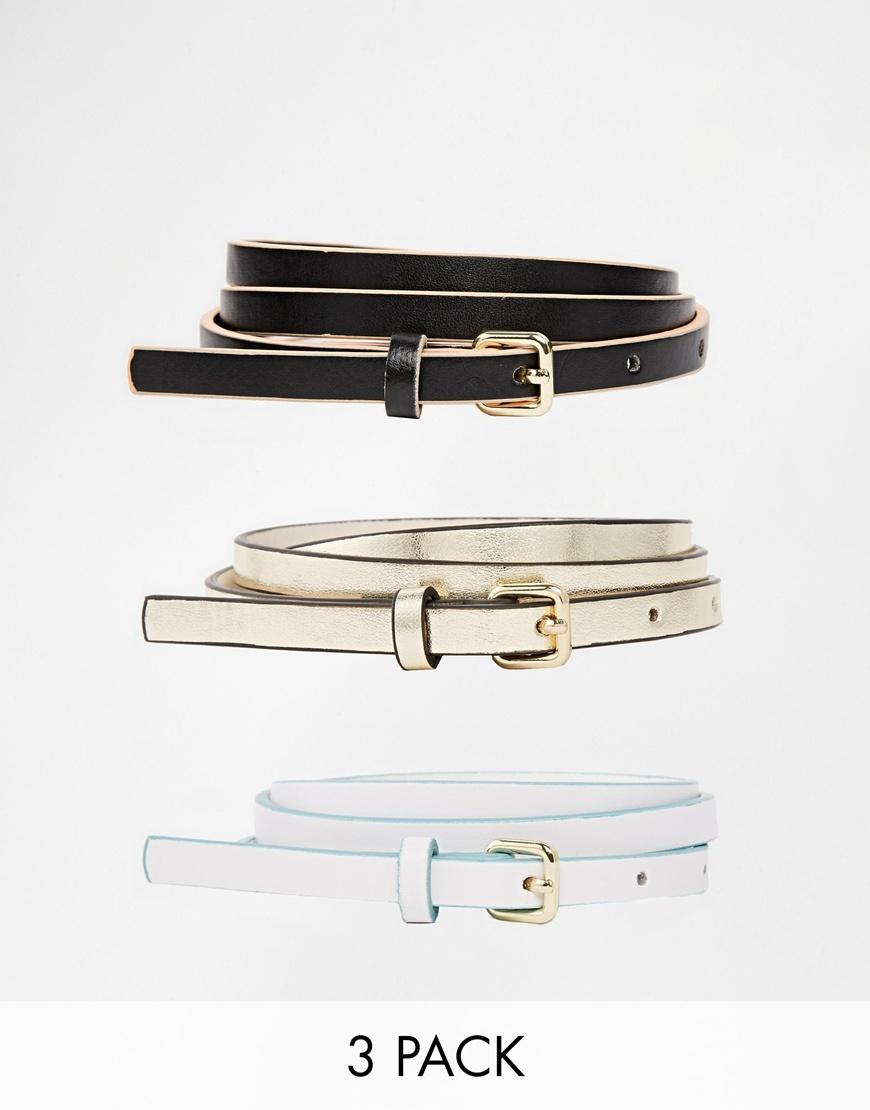 Fashion Shop - ASOS 3 Pack Super Skinny Waist & Hip Belt With Contrast Edge Paint - Blackwhitegold