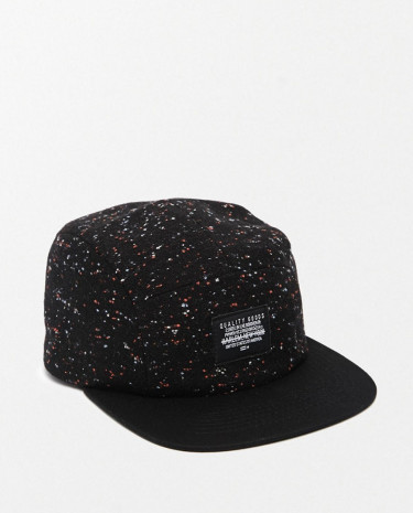 Fashion Shop - ASOS 5 Panel Cap In Black Nep Fabric - Black