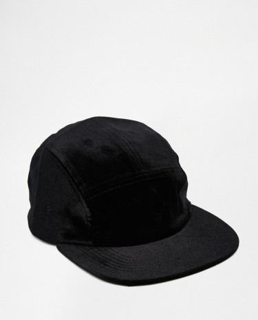 Fashion Shop - ASOS 5 Panel Cap In Black Velvet - Black