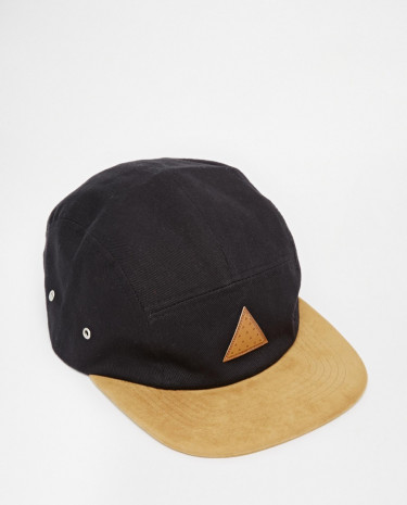 Fashion Shop - ASOS 5 Panel Cap In Black With Tan Faux Suede Contrast Peak - Black