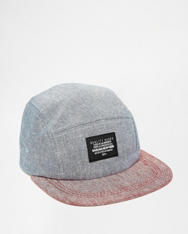 Fashion Shop - ASOS 5 Panel Cap In Blue And Red Chambray - Blue