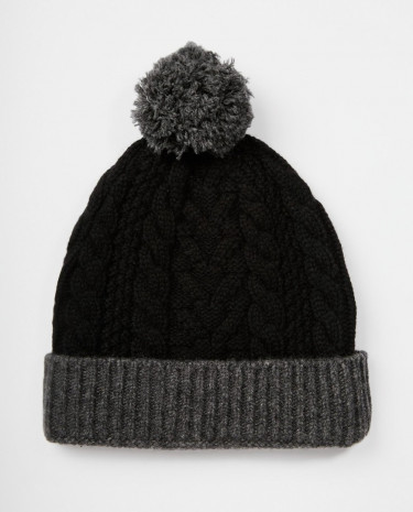 Fashion Shop - ASOS Bobble Beanie in Black Lambswool - Black