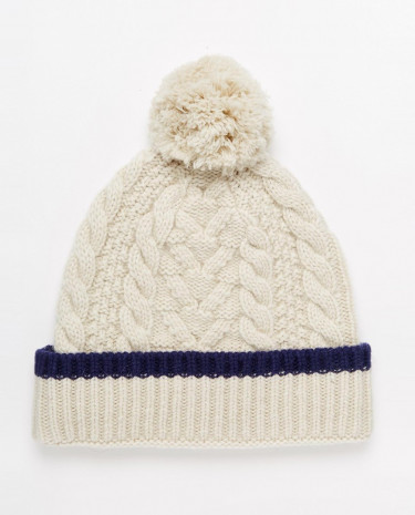 Fashion Shop - ASOS Bobble Beanie in Ecru Lambswool - Ecru