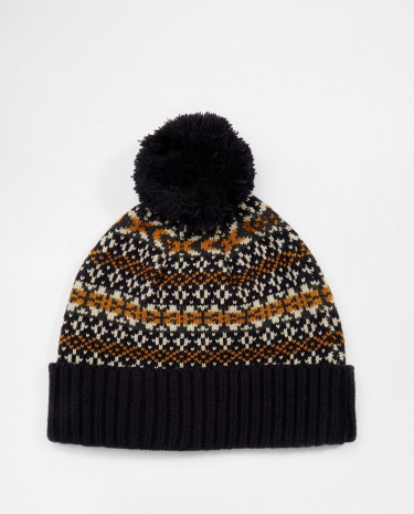 Fashion Shop - ASOS Bobble Beanie in Navy Fair Isle - Navy