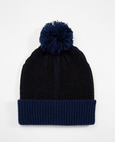 Fashion Shop - ASOS Bobble Beanie in Navy Stripe with Contrast Turn Up - Navy