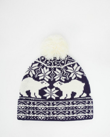 Fashion Shop - ASOS Bobble Beanie in Navy with Arctic Design - Navy