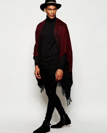 Fashion Shop - ASOS Burgundy Ombre Cape - Red