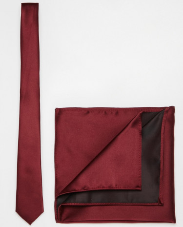 Fashion Shop - ASOS Burgundy Tie and Pocket Square Pack - Burgundy