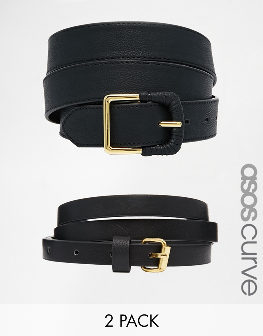 Fashion Shop - ASOS CURVE 2 Pack Skinny Waist Belt And Jeans Belt - Black