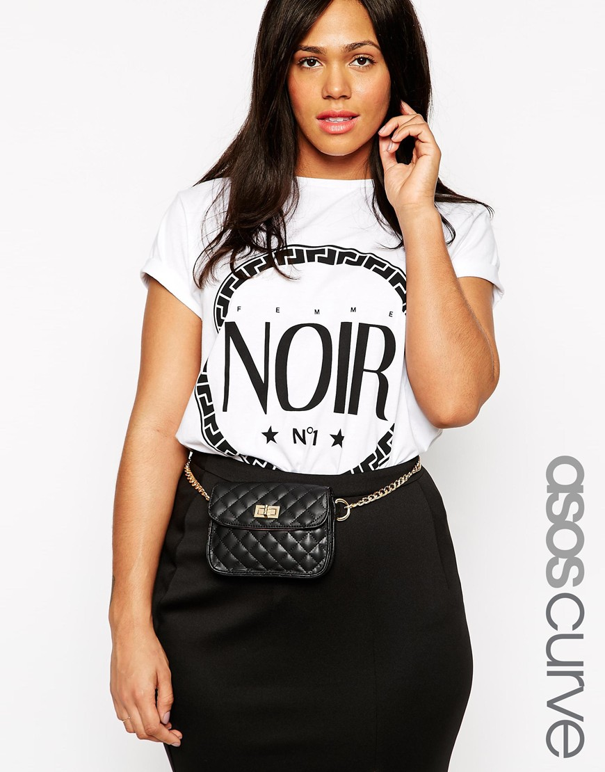 Fashion Shop - ASOS CURVE Chain Waist Belt With Quilted Festival Purse - Black