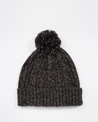Fashion Shop - ASOS Cable Bobble Beanie in Charcoal with Nep - Charcoal