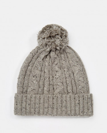 Fashion Shop - ASOS Cable Bobble Beanie in Grey with Nepp - Grey