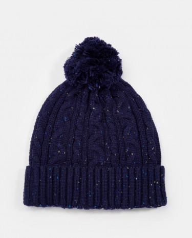 Fashion Shop - ASOS Cable Bobble Beanie in Navy with Nepp - Navy