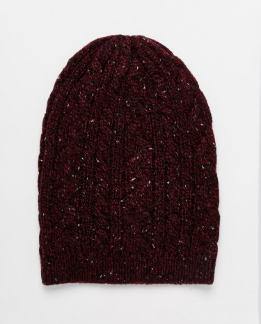 Fashion Shop - ASOS Cable Slouchy Beanie in Burgundy with Nep - Burgundy