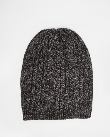 Fashion Shop - ASOS Cable Slouchy Beanie in Charcoal with Nepp - Charcoal