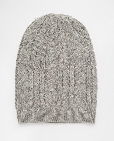 Fashion Shop - ASOS Cable Slouchy Beanie in Grey with Nep - Grey