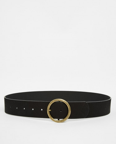 Fashion Shop - ASOS Circle Buckle Jeans Belt - Black