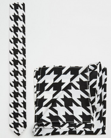 Fashion Shop - ASOS Dogstooth Tie and Pocket Square Pack - Black