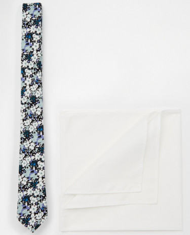 Fashion Shop - ASOS Floral Tie and Pocket Square Pack - Green
