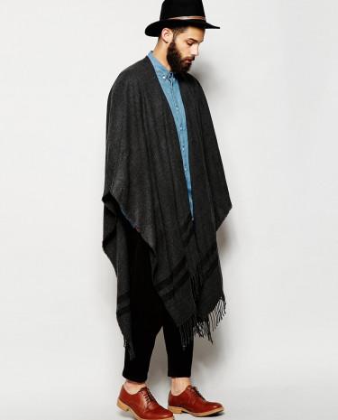 Fashion Shop - ASOS Grey Woven Cape - Grey