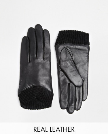 Fashion Shop - ASOS Leather Gloves With Knitted Cuff And Touch Screen Detail - Black