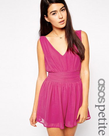 Fashion Shop - ASOS PETITE Exclusive Playsuit with Gathered Plunge and Low Back - Black