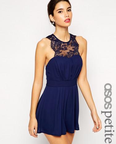 Fashion Shop - ASOS PETITE Exclusive Scallop Lace Top Playsuit - Navy