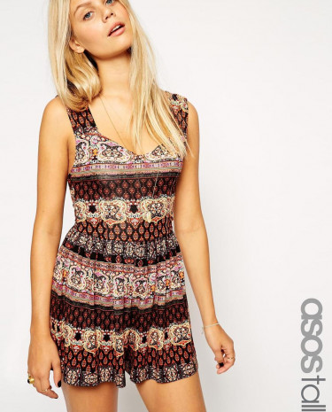 Fashion Shop - ASOS TALL Sleeveless Cage Back Playsuit In Print - Print