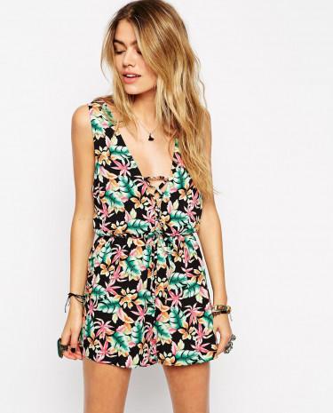 Fashion Shop - ASOS Tropical Print Lattice Plunge Beach Playsuit - Tropicalprint