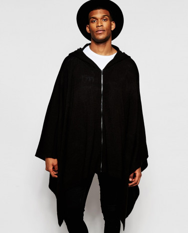Fashion Shop - ASOS Zip Front Knitted Cape - Black