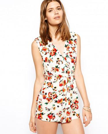 Fashion Shop - AX Paris Wrap Front Floral Playsuit - Cream