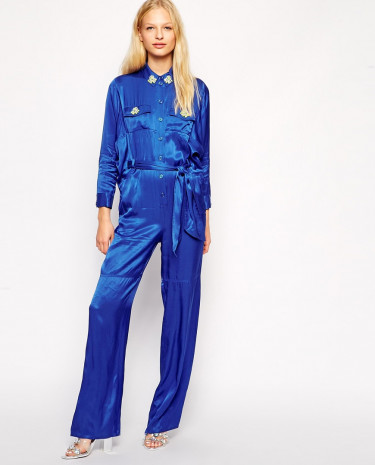 Fashion Shop - American Retro Belted Jumpsuit With Embellished Collar - Blue