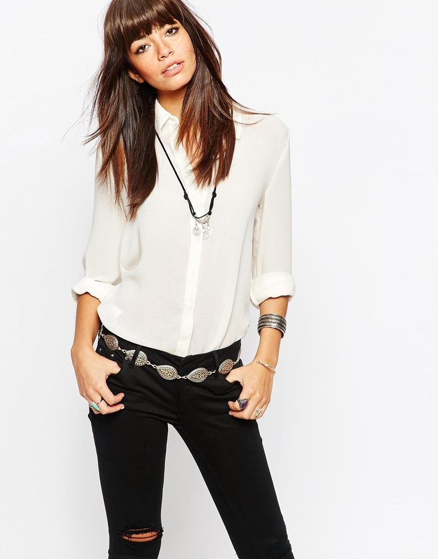 Fashion Shop - Black & Brown Paisley Chain Belt - Silver