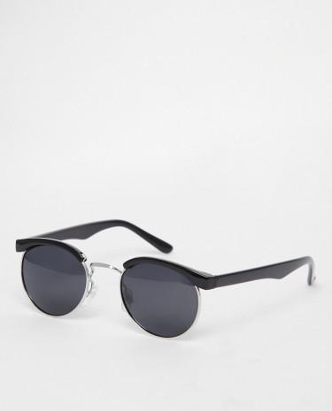 Fashion Shop - D-Struct Round Retro Sunglasses - Black