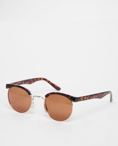 Fashion Shop - D-Struct Round Retro Sunglasses - Brown