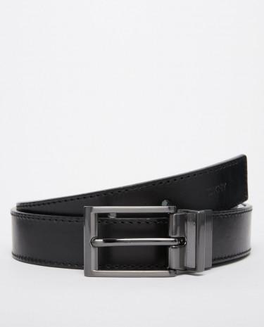 Fashion Shop - DKNY Smart Reversible Leather Belt - Black