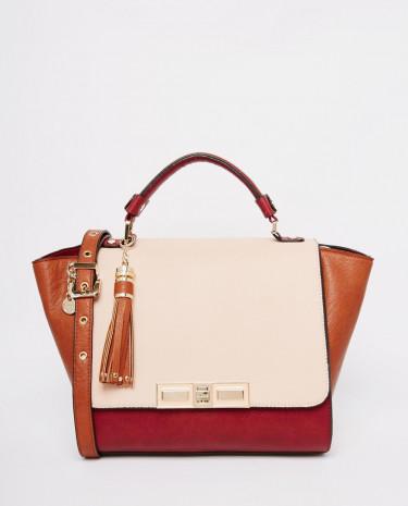 Fashion Shop - Dune Damzine Colour block Winged Tote - Berryplainsyntheti