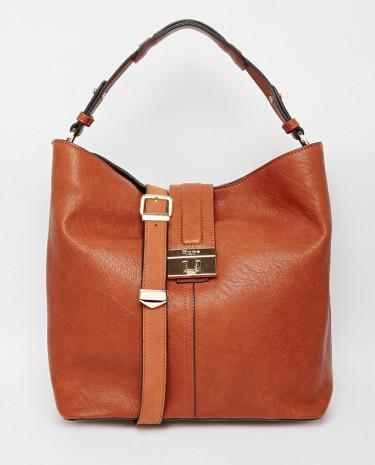 Fashion Shop - Dune Doris Tan Hobo Shoulder Bag with Front Lock Detail - Brown