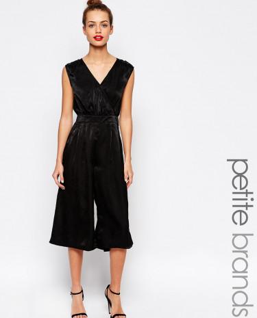 Fashion Shop - Girls On Film Petite Silky Culotte Jumpsuit - Black