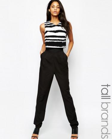 Fashion Shop - Girls On Film Tall Stripe Top Jumpsuit - Black