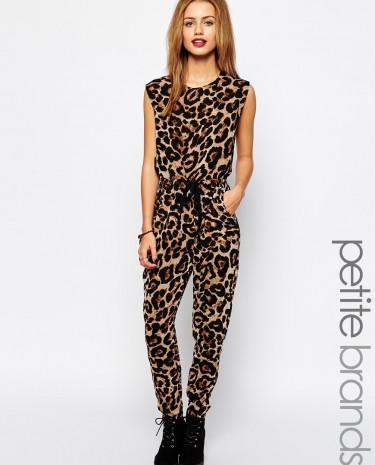 Fashion Shop - Glamorous Petite Animal Print Jumpsuit - Black