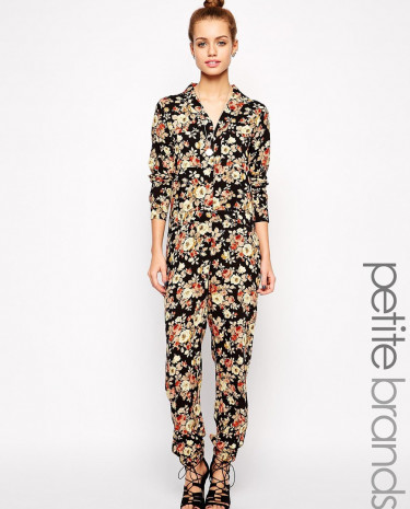Fashion Shop - Glamorous Petite Floral Boilersuit Jumpsuit - Multi