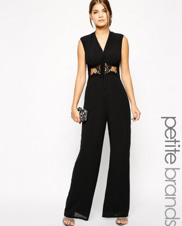 Fashion Shop - Jarlo Petite Lace Insert Button Front Jumpsuit - Black