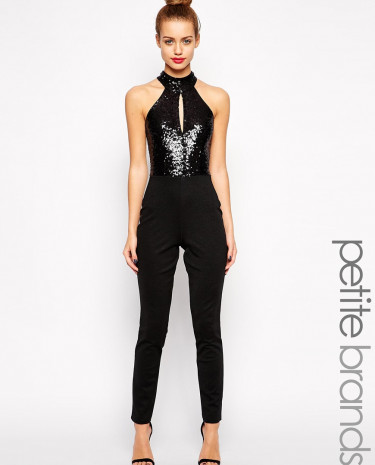 Fashion Shop - Lipstick Boutique Petite Halter Neck Jumpsuit With Sequin Detail - Black