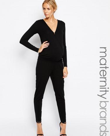 Fashion Shop - Mamalicious Longsleeve Wrap Front Jumpsuit - Black