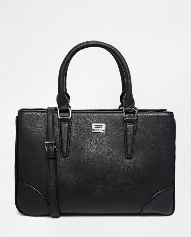 Fashion Shop - Marc B Brooke Double Compartment Handheld Bag - Black