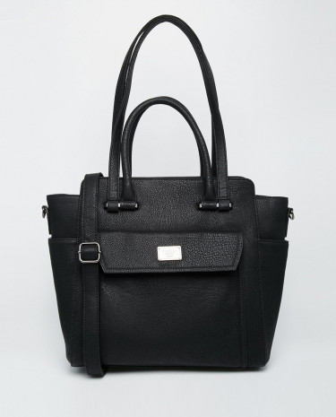 Fashion Shop - Marc B Structured Tote Bag with Double Handle & Cross Body Strap - Black