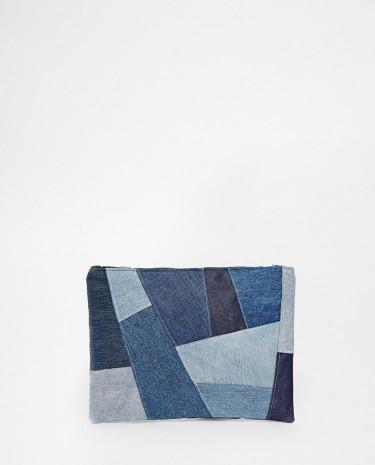 Fashion Shop - Milk It Denim Patchwork Clutch - Blue