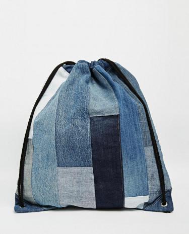 Fashion Shop - Milk It Denim Patchwork Drawstring Backpack - Blue